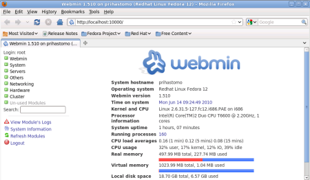Webmin at Fedora 12